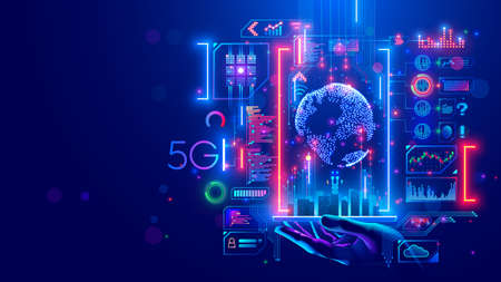 5g internet communications concept. IOT technology in smart city of future. Global wireless network connection. telecommunications system in urban infrastructure. Hi speed world wide web. Wi-fi.