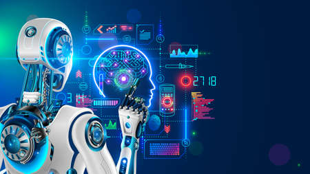 Robot or cyborg programming artificial intelligence in cyberspace. AI in industrial revolution. Machine looking on hud screen. Deep Machine learning. Back view. Neural network in image humanoid robot