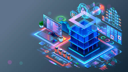 Smart house system programming software. Engineering development of building construction, communication, electricity. Design in CAD programs of Smart building. AI of IOT. Architectural 3d plan. Illustration
