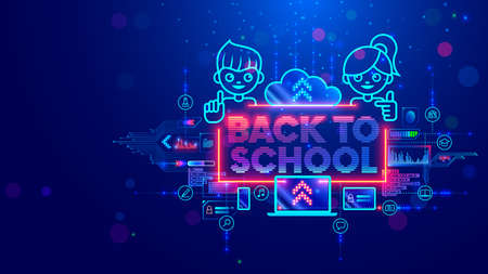 Online education of children on computer through internet web platform. Back to school. Technology remote study or learning of kids. Banner of digital studying. Boy and girl look at webinar on laptop