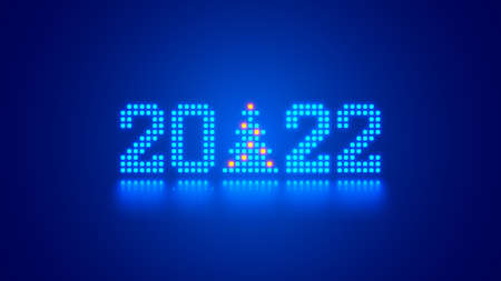 New Year digits 2022 and Christmas tree in tech style. 20 22 consists of 8 bit neon dots or pixels on blue background. 2022 New Year card of digital technology industry. Xmas holiday computer banner. Illustration