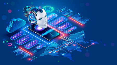 Chat bot with AI helping of users speakers of different languages. Online multilanguage support. App of Voice assistant on Phone. Robot on screen smartphone talk in messenger. Intelligence of chatbot