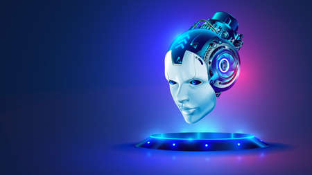 AI or artificial intelligence in image robot head hover over podium in virtual cyberspace. Humanoid face of mechanical cyborg with electronic brain or mind. Neural network or supercomputer on pedestal