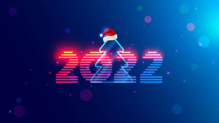 2022 new year. Christmas tree with digital number year in neon light. Celebration banner in computer cyberpunk technology style. Christmas party event poster in tech cyber decoration. 2022 on blue.