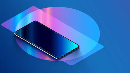Phone with empty screen is on the table or reflection surface. Smartphone lies on desktop. 3d Isometric realistic illustration of phone with neon shapes on background. Mock up cellphone rotated angle