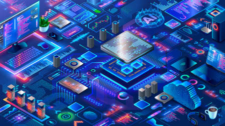 Hardware and software computer technology background. Isometric elements of development, engineering electronics systems and devices. Design, programming or coding of microcontrollers or chips.