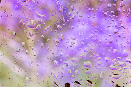 bright abstract background of water drops on glass photo