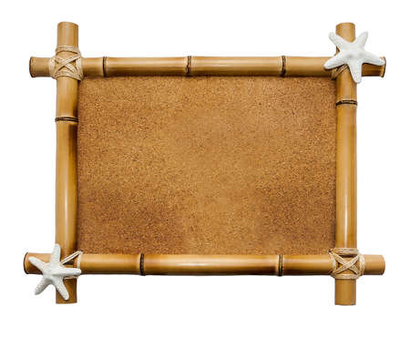 Bamboo frame with cork background looking like a sand  isolated on white Imagens