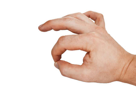 carpal tunnel syndrome: human hand sign symbolizing approval,  isolated on white background Stock Photo
