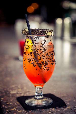 bar counter: Cocktail on bar counter