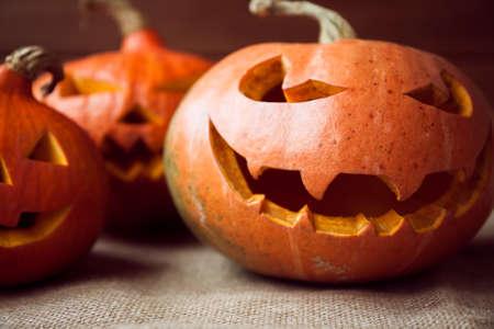 jack o' lantern: Halloween jack o lantern on rustic background