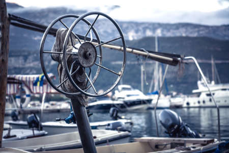 Marine port background with yacht equipment  detail Imagens