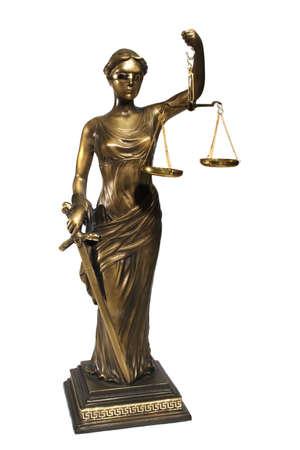 gerechtigheid: Dame van Justitie op een witte achtergrond