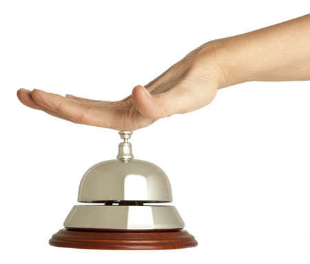 bellman: Hand of a woman using a hotel bell  isolated