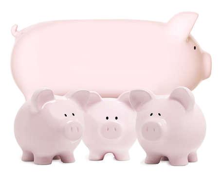3 little pigs: Momma piggy bank and three little piggy bank