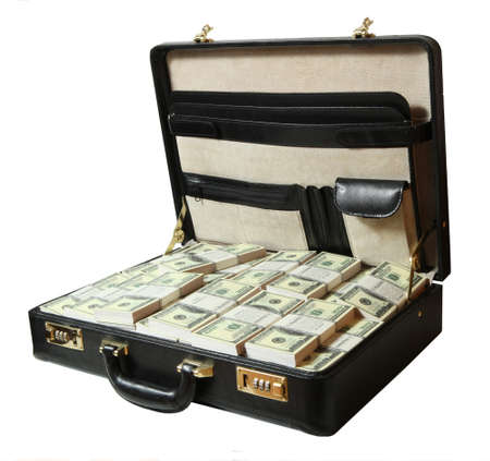 corporate greed:  full of dollar on white background  Stock Photo