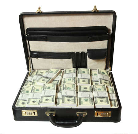 brief case:  full of dollar on white background  Stock Photo
