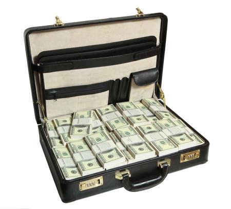 dinero falso: ?ase lleno de dólar en el fondo blanco Foto de archivo