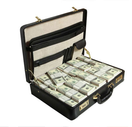 corrupcion: lleno de dólar en el fondo blanco