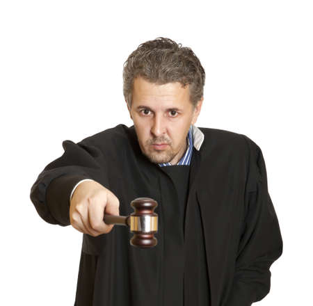 Portrait of an angry middle aged male judge isolated over white background  photo