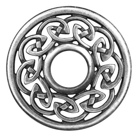 celtico: Argento Spilla celtica in isolato su bianco super macro Archivio Fotografico