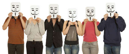 painted face mask: Group people with the painted mask on the sheet of paper over his face isolated on white