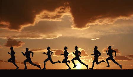 athletics training: Marathon, black silhouettes of runners on the sunset Stock Photo
