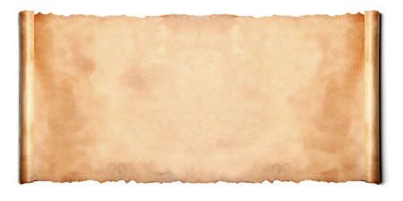 parchment scroll: Horizontal ancient scroll isolated over a white background  Stock Photo