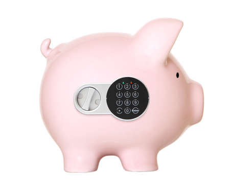 Pink piggy bank safe with the digital lock  photo