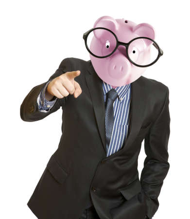 stingy: Businessman with a piggy bank head