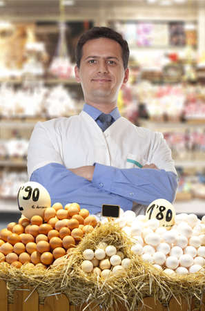 commerce and industry: Farmer sells eggs at the market