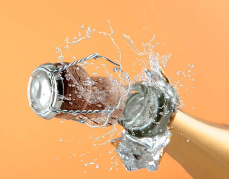 Champagne bottle ready for celebration  Stock Photo