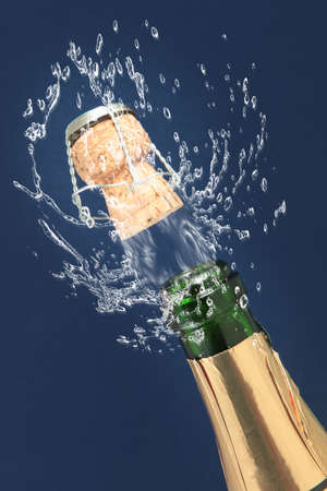Champagne bottle ready for celebration  Stock Photo