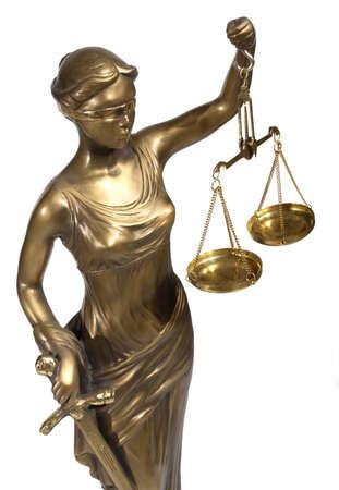 court order: Se�ora de Justicia sobre fondo blanco Foto de archivo