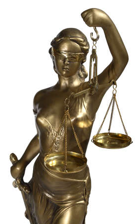 judicature: Lady of Justice on white background