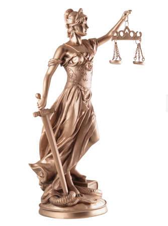 Lady of Justice on white background  photo