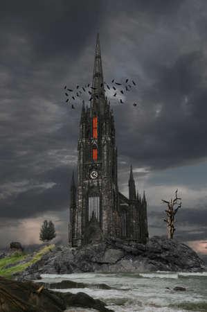 Mystery gothic castle Edinburgh. Stock Photo - 15611313