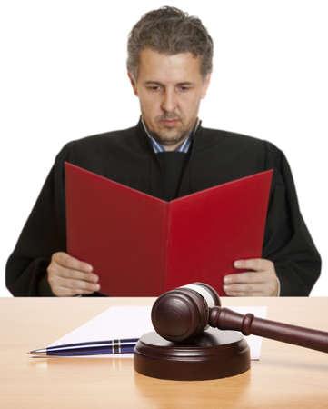 Gavel & male judge isolated on white Stock Photo - 15717295