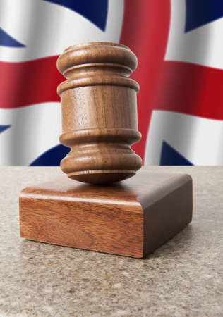 Gavel and Flag of England  photo