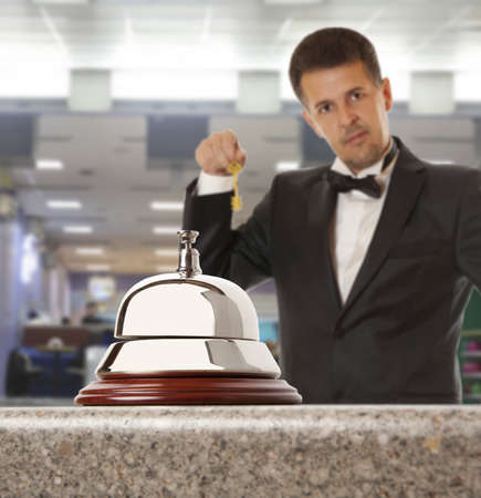 bellman: Hotel Concierge.  Service bell at the hotel
