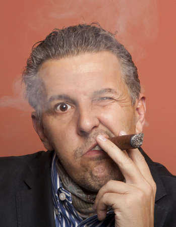 cheater: Man wearing suit gangster style smoking cigar  Stock Photo