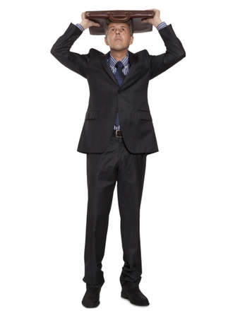 Sad businessman, full length portrait isolated white background  photo
