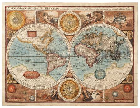 yesteryear: Antiguo mapa 1626 Un nuevo mapa y accvrat del mundo Foto de archivo