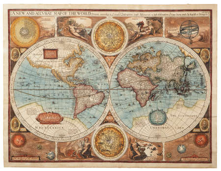 vintage world map: Old map  1626    A new and accvrat map of the world  Stock Photo
