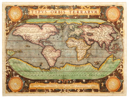 Old map  1587    TYPVS ORBIS TERRARVM  Stock Photo