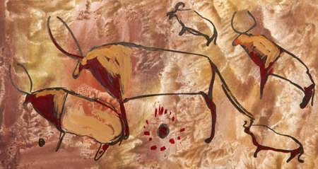 pintura rupestre: Buffalo Old antiguo petroglifo Edad del Bronce Foto de archivo