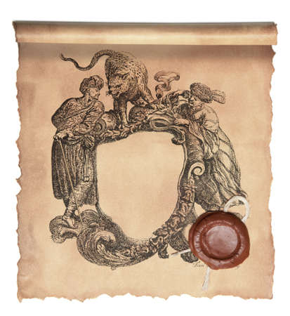 Old paper with wax seal  photo