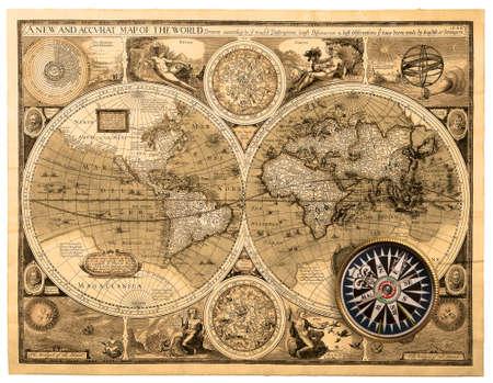 고대: 옛지도 (1626). 세계의 새로운 accvrat지도 스톡 사진