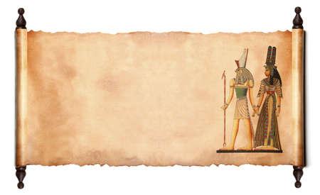horus: Despl�cese con im�genes de dioses egipcios - Fara�n y Horus. aislado sobre un fondo blanco Foto de archivo