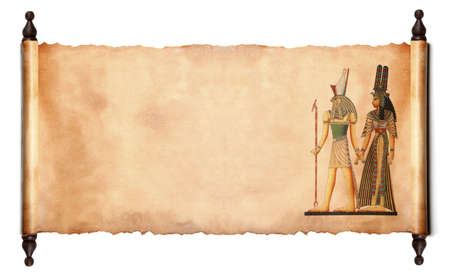 Scroll with Egyptian gods images - Pharaoh and Horus.  isolated over a white background  Stock Photo